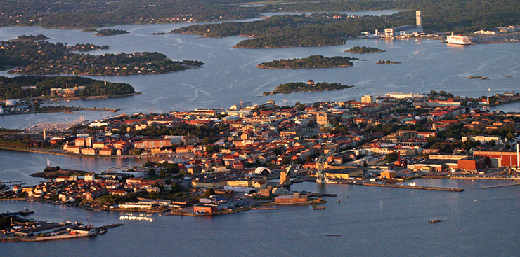 View of Karlskrona from the air.