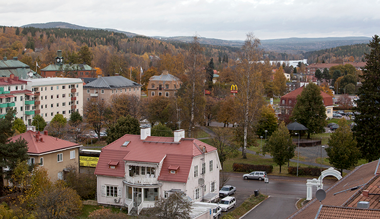 View over residential areas in Ludvika.
