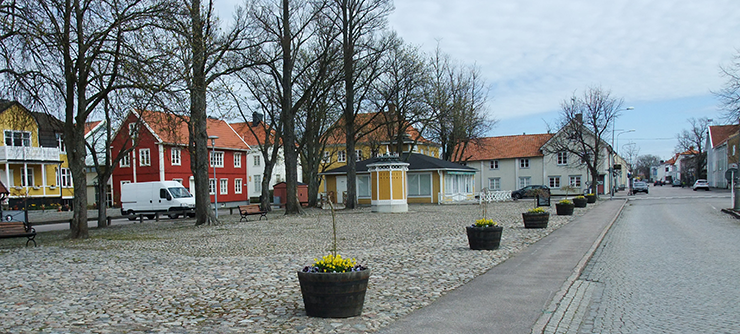 The main square on a chilly spring day, with pots of spring flowers, bare trees and wooden houses in the background.