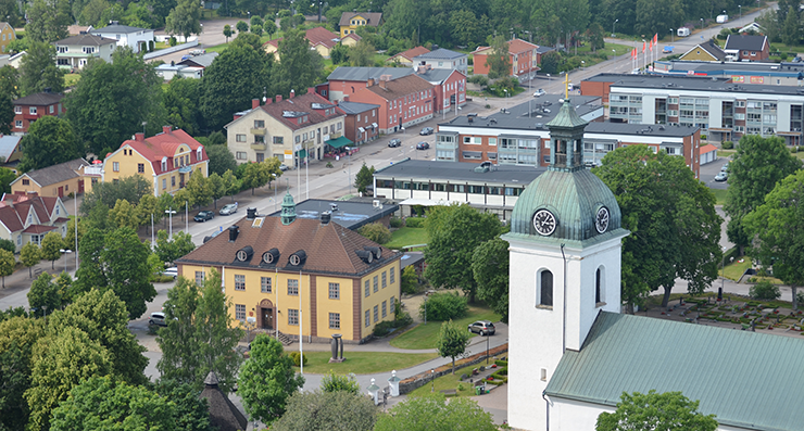 The locality of Åseda seen from the air. Åseda church and Åseda town hall are in the foreground.