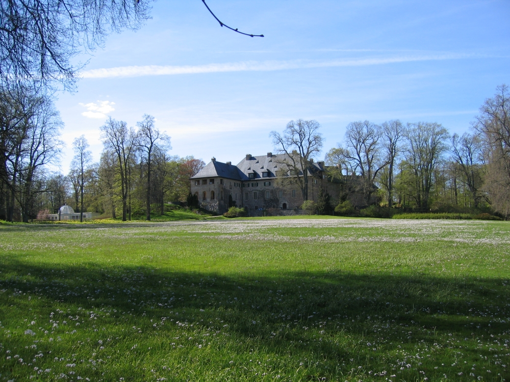 Adelsnäs Manor seen from a distance. In front of the grand house is a big lawn with spring flowers growing on it.