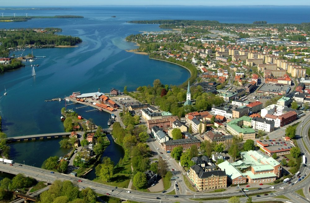 Aerial view of Motala, with Lake Vättern in the background