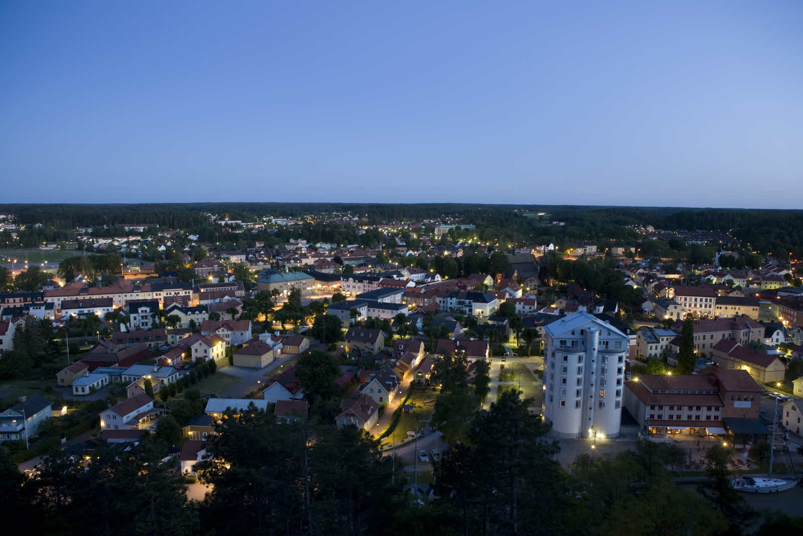 View of Söderköping lit up at night.