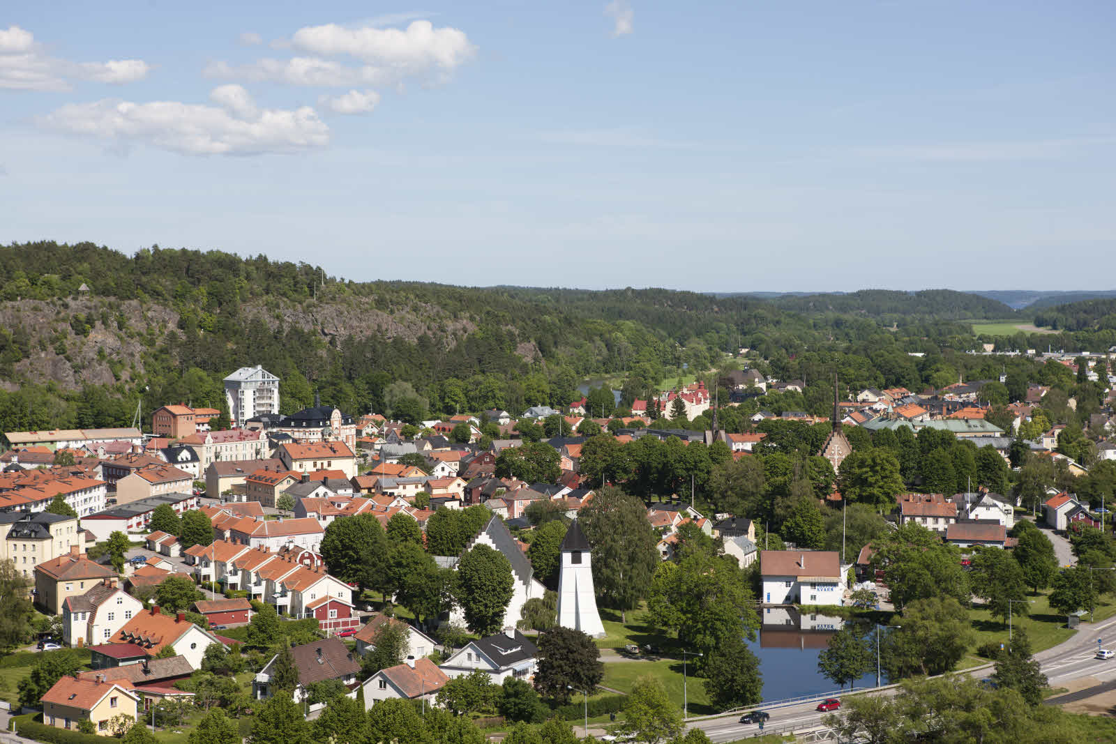 View of Söderköping's centre, with a forest in the background.