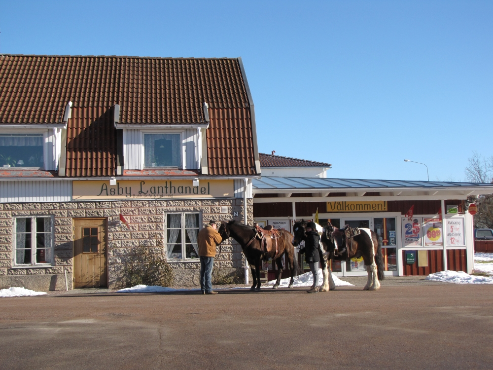 A man with two horses outside the Åsby village shop.