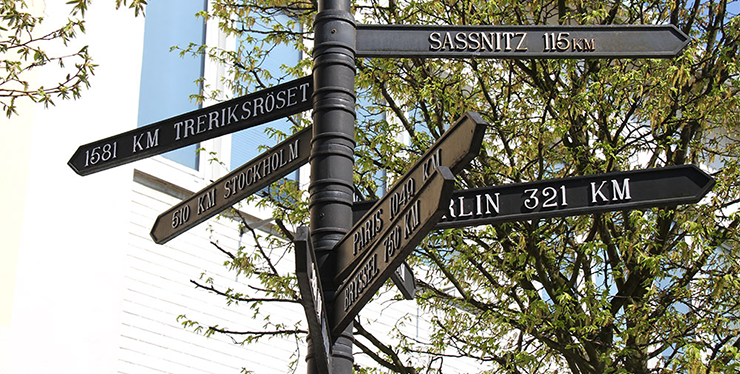 A post with signs indicating the way to different destinations. The names on the signs include Treriksröset, Stockholm, Paris and Sassnitz.