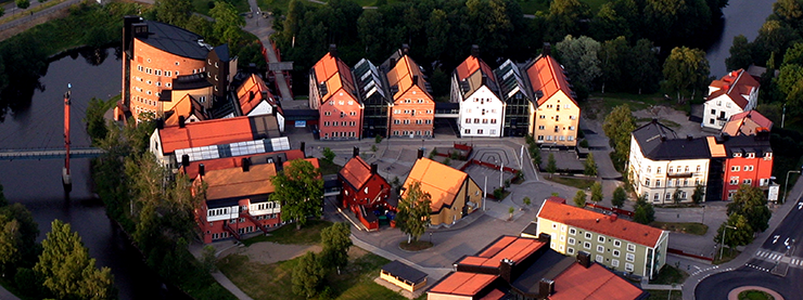 Aerial photograph of the Mid Sweden University campus in Sundsvall.
