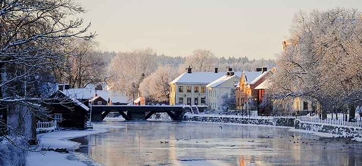 Arboga in winter. Arbogaån flows through the town.