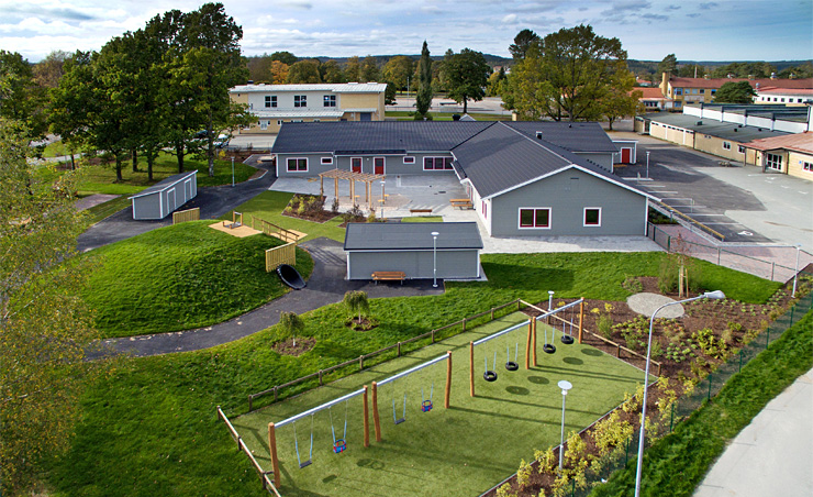 Aerial photograph of Haga preschool, with swings in the foreground.