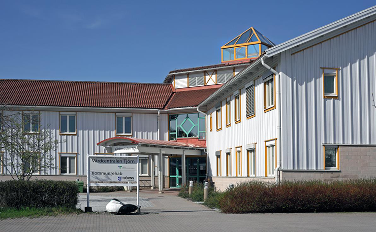 Entrance to a medical care centre on Tjörn.