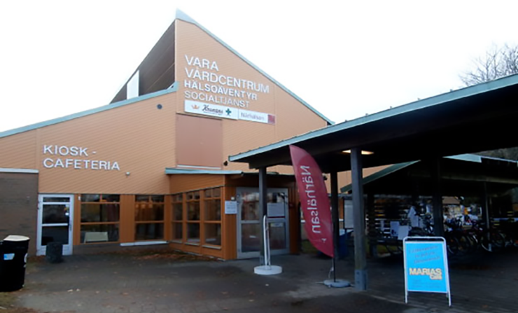 The entrance to Vara medical care centre.